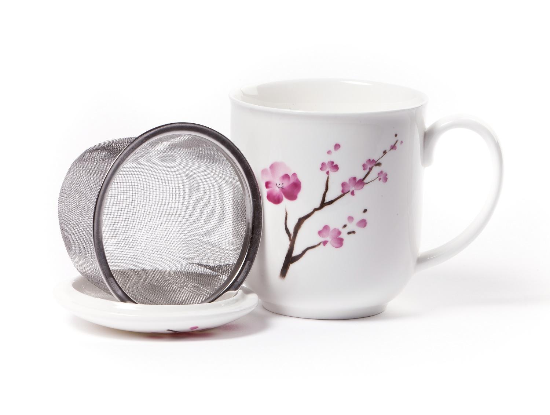 shamila becher cherry blossom mit sieb und deckel online bestellen tee einfach online. Black Bedroom Furniture Sets. Home Design Ideas